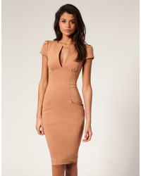 ASOS Collection | Brown Asos Ponti Pencil Dress with Pockets | Lyst