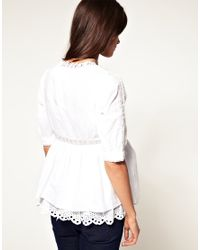 ASOS Collection - White Asos Maternity Lace Edge Long Line Tunic - Lyst