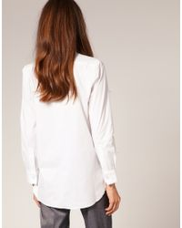 ASOS Collection - White Asos Textured Bib Boyfriend Shirt - Lyst