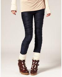 ASOS Collection | Blue Asos Premium Pleated Leggings | Lyst