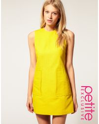 ASOS Collection - Yellow Asos Petite Exclusive 60 S Textured Shift Dress - Lyst