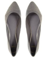 ASOS - Gray Asos Lily Pin Stud Pointed Ballet Pumps - Lyst
