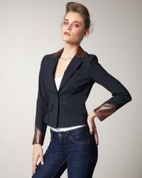 Elizabeth and James | Blue Ashford Leather-trim Blazer | Lyst