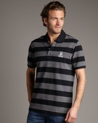 Psycho Bunny - Striped Bunny Polo, Black-charcoal for Men - Lyst