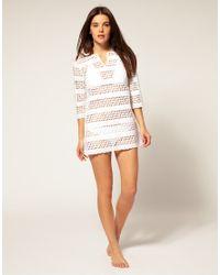 River Island - Natural Crochet Mini Beach Dress Cover Up - Lyst