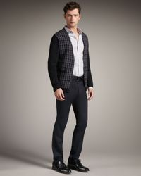 Theory | Black Houndstooth Cardigan for Men | Lyst