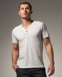 Theory | Gray Short-sleeve V-neck Henley, Sea Salt for Men | Lyst