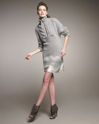 Alexander Wang | Gray Knit & Silk-degrade Sweater Dress | Lyst