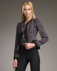 Armani - Purple Tweed Cardigan Jacket - Lyst