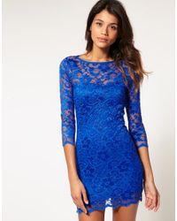ASOS Collection | Blue Asos Lace Bodycon Dress | Lyst