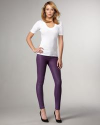 Bleu Lab | Purple Reversible Denim Leggings, French Chalk | Lyst
