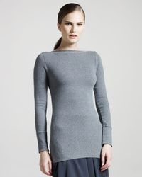 Brunello Cucinelli | Gray Ribbed Boat-neck Jersey Top | Lyst