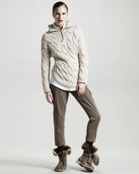 Brunello Cucinelli - Natural Fox-collar Cable-knit Sweater - Lyst