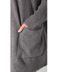 DKNY - Gray Hooded Pullover with Ribbed Sleeves - Lyst