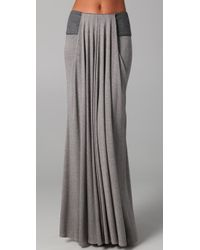 Doo. Ri | Gray Long Draped Skirt with Leather Trim | Lyst