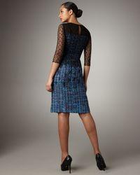 Erdem - Black Lace-overlay Tweed Dress - Lyst