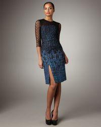 Erdem | Black Lace-overlay Tweed Dress | Lyst