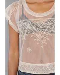 Free People - Natural Embroidered Mesh Crop Top - Lyst