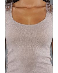 Free People - Brown The Long and Lean Layering Fabulousness Tank in Taupe Heather - Lyst