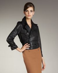 Jean Paul Gaultier | Black Mink-collar Leather Jacket | Lyst