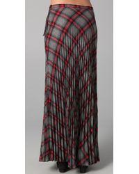 L.A.M.B. - Gray Long Pleated Plaid Skirt - Lyst