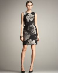 Lanvin | Black Floral Sheath Dress | Lyst
