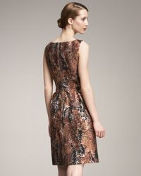 Lela Rose | Brown V-neck Brocade Dress | Lyst