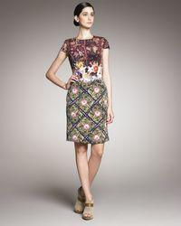 Mary Katrantzou | Multicolor Mixed Floral-print Crepe Dress | Lyst