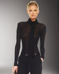 Michael Kors | Black Sheer Sweater With Scarf | Lyst