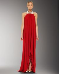 Michael Kors | Red Metal Neck Jersey Gown | Lyst