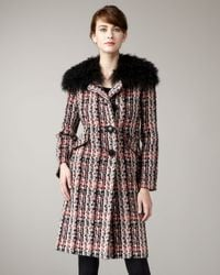 MILLY - Multicolor Lindsey Fur-trim Coat - Lyst