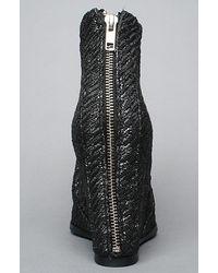 Minimarket - Black The Wedge Zipper Boot in Gray Rubber Brocade - Lyst