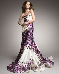 Monique Lhuillier | Purple Strapless Silk Trumpet Gown | Lyst