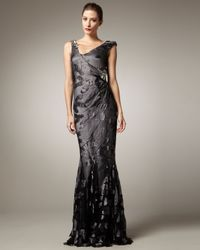 Pamella Roland | Gray Asymmetric-neck Embroidered Gown | Lyst