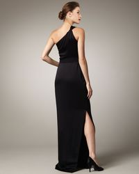 Pamella Roland | Black One-shoulder Crepe Gown | Lyst