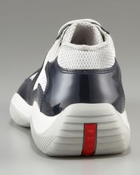 Prada - Blue Patent Leather Sneaker, Navy for Men - Lyst