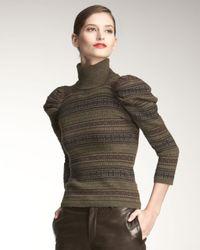 Ralph Lauren Black Label | Green Mutton-sleeve Cashmere Turtleneck Sweater | Lyst