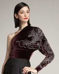 Ralph Lauren Collection | Purple Antonia One-sleeve Velvet Top | Lyst