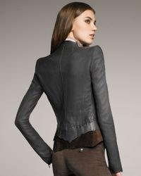 Roberto Cavalli - Blue Feather-applique Leather Jacket - Lyst