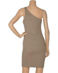T By Alexander Wang - Brown Cotton-blend One-shoulder Dress - Lyst