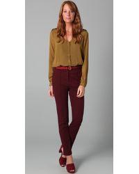 Tibi - Green Button Down Blouse Bodysuit - Lyst