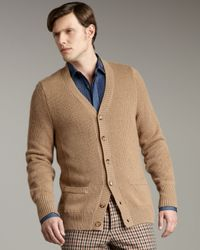 Valentino | Natural Ribbed Cardigan for Men | Lyst