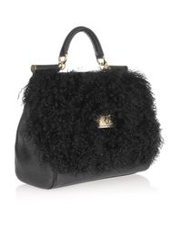 Dolce & Gabbana - Black Shearling and Leather Tote - Lyst