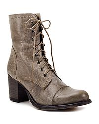 Steve Madden | Brown Graanie - Stone Leather Combat Boot with Heel | Lyst