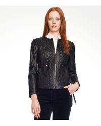 Tory Burch | Black Braiden Leather Jacket | Lyst