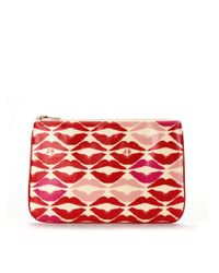 Lulu Guinness - Red Lip Blot Laminate Large Flat Pouch - Lyst