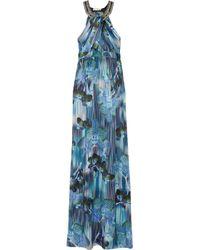 Matthew Williamson | Blue Lotus Silksatin Maxi Dress | Lyst