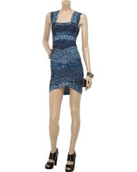 Hervé Léger - Blue Printed Bandage Dress - Lyst
