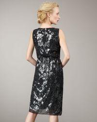 Elie Tahari - Metallic Tia Sequined Tie-waist Dress - Lyst