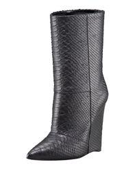 Giuseppe Zanotti | Black Python-Embossed Wedge Ankle Boot | Lyst